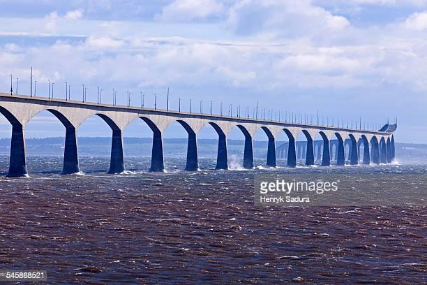Canada, New Brunswick, Prince Edward Island, Confederation Bridge, View of long concrete bridge over strait