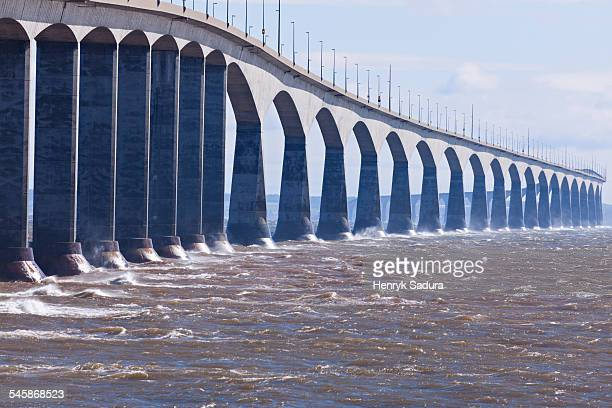 Canada, New Brunswick, Prince Edward Island, Confederation Bridge, View of long concrete bridge over strait