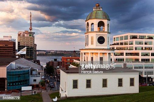 Canada, Nova Scotia, Halifax, Halifax Town Clock in evening sunlight