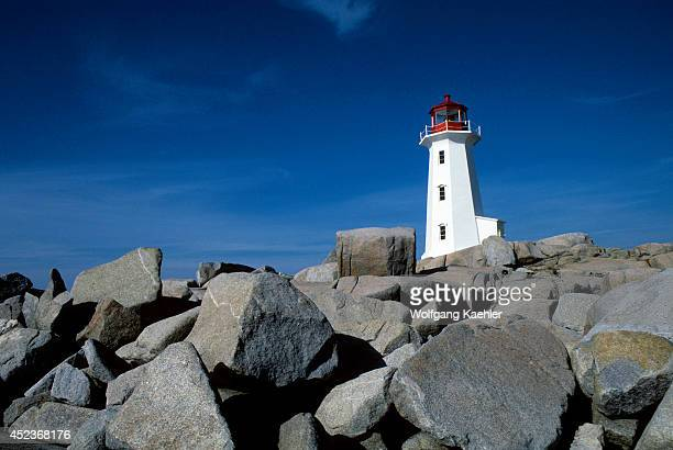 Canada Nova Scotia Peggy's Cove Near Halifax Lighthouse On Granite Rocks