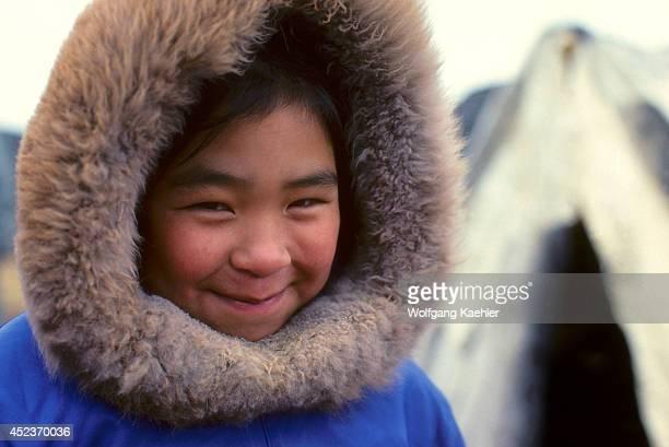 Canada Nunavut Hudson Bay Baffin Island Cape Dorset Portrait Of Inuit Girl