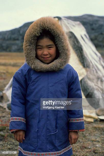 Canada Nunavut Hudson Bay Baffin Islandcape Dorset Inuit Girl In Front Of Sealskin Tent