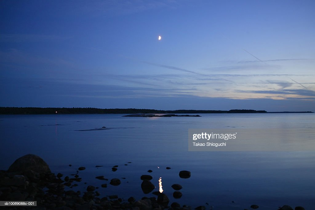 Canada, Ontario, Killbear Provincial Park, View of lake at dusk : Stock Photo