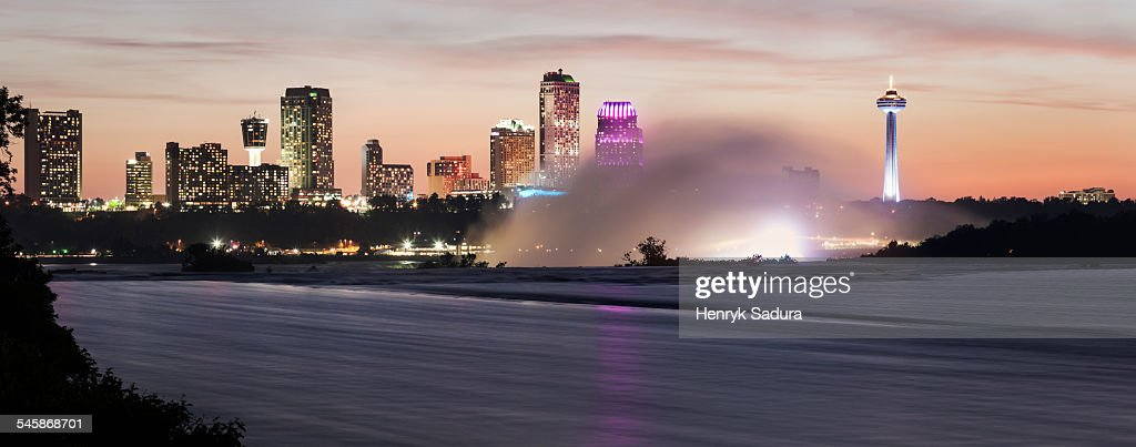 Canada, Ontario, Niagara Falls and Toronto skyline in background