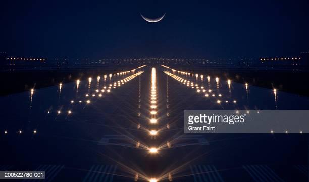 Canada, Ontario, Toronto, airport, illuminated runway, dusk