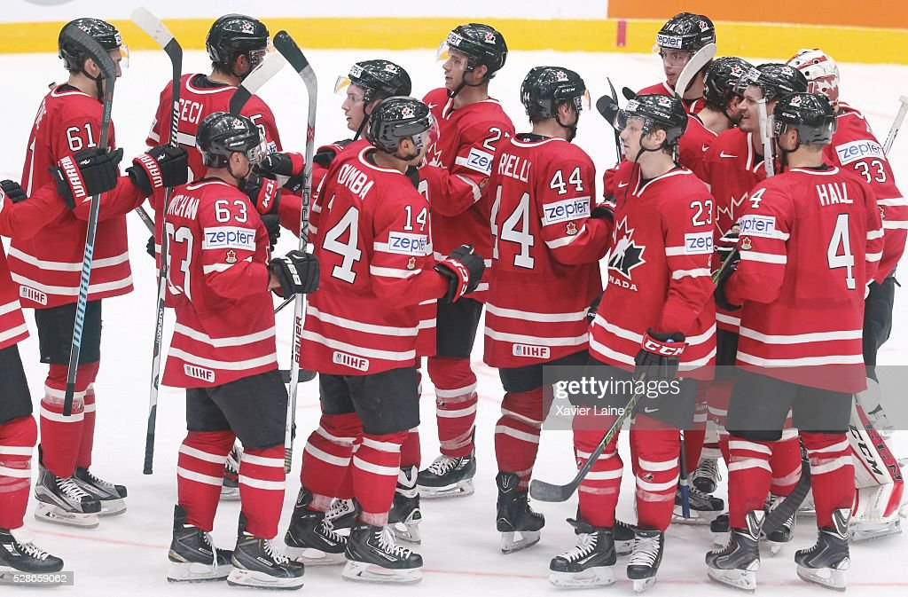 Canada players celebrate the victory after the 2016 IIHF World Championship between USA and Canada at Yubileyny Sports Palace ,on May 6, 2016 in Saint Petersburg, Russia.
