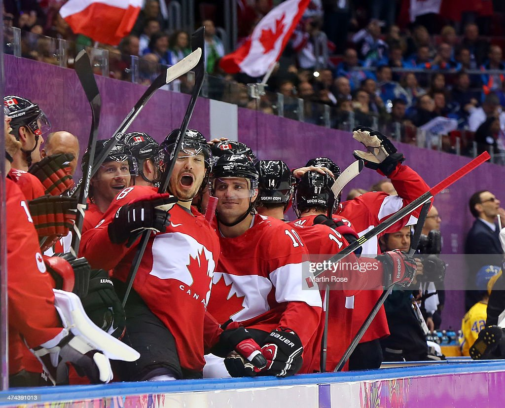 Canada players celebrate their 3-0 victory during the Men's Ice Hockey Gold Medal match against Sweden on Day 16 of the 2014 Sochi Winter Olympics at Bolshoy Ice Dome on February 23, 2014 in Sochi, Russia.