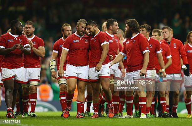 Canada players take a lap of honour following the 2015 Rugby World Cup Pool D match between Ireland and Canada at the Millennium Stadium on September...