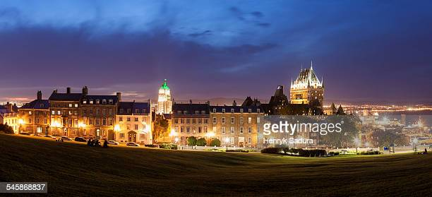 Canada, Quebec, Quebec City, Panoramic view of old city at dusk