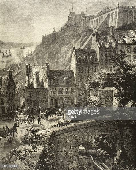 Canada Quebec View of the city from the ancient wall Engraving at 'The Iberian Illustration' 1885
