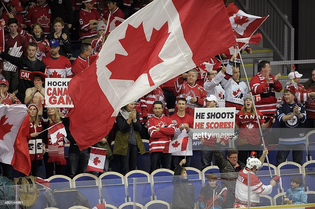 Canada supporters in the stands during the World Junior Hockey Championships quarter final between Canada and Switzerland at the Malmo Stadium in Malmo, Sweden on January 2, 2014.