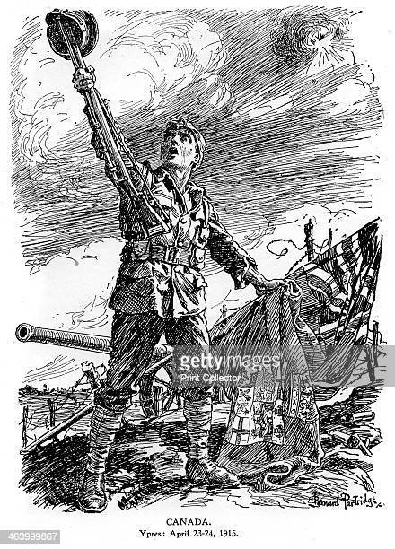 'Canada Ypres April 2324 1915' A cartoon that originally appeared in Punch Illustration from The Illustrated War Record of the Most Notable Episodes...