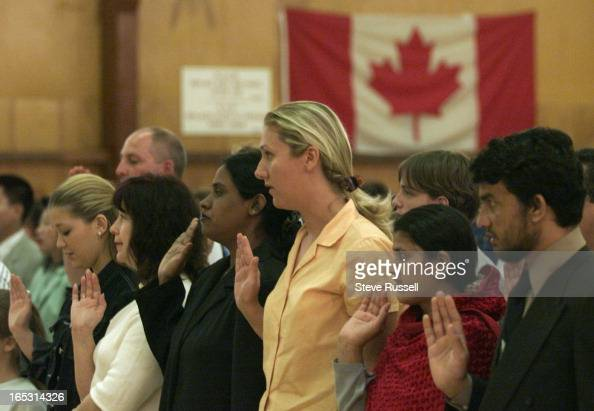 CANADA207/01/01One for each year of Confederation Citizenship court Judge Daniel Iannuzzi swore in 134 new Canadians at a special ceremony at...
