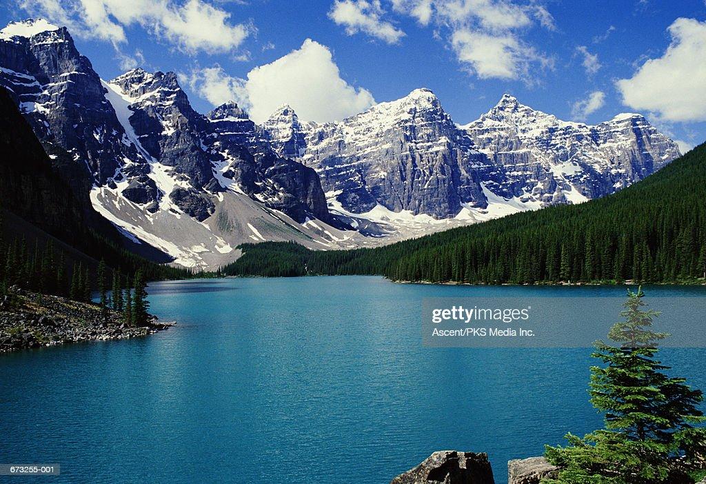 Canada,Alberta,Banff National Park, lake,snow-capped mountains behind : Stock Photo