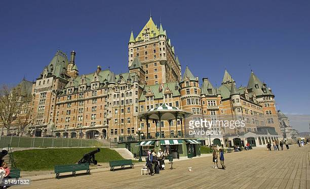 CanadaFranceQuebec BY GUILLAUME LAVALLEE Quebec City landmark the Chateau Frontenac can be seen from the boardwalk on May 17 2008 in Quebec City...