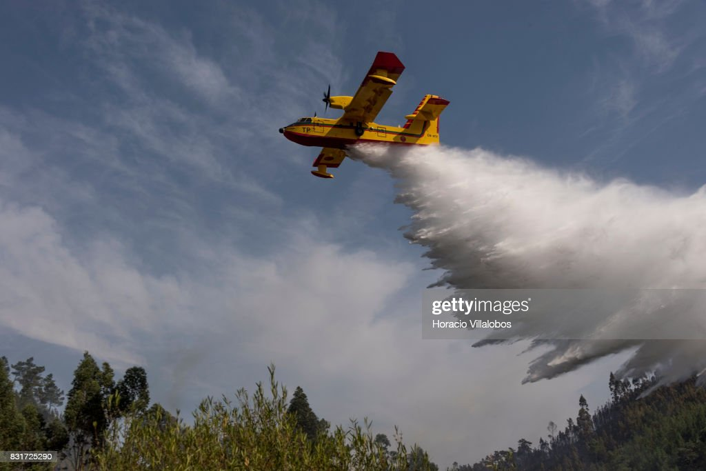 Feu au Portugal 2017 - CL-415 Canadair-cl215-firefighting-amphibious-aircraft-drops-water-over-the-picture-id831725290