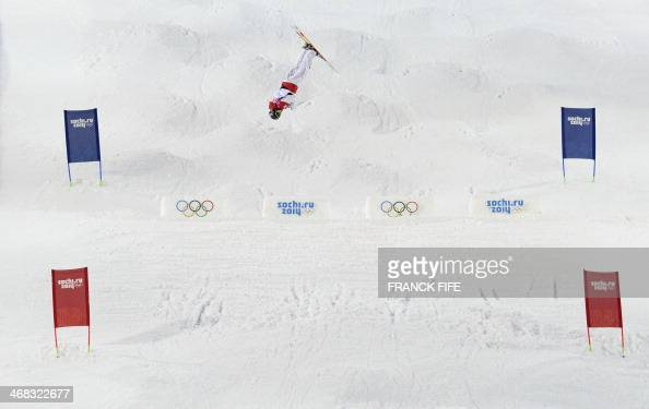 Canada's Alex Bilodeau competes in the Men's Freestyle Skiing Moguls qualifications at the Rosa Khutor Extreme Park during the Sochi Winter Olympics...