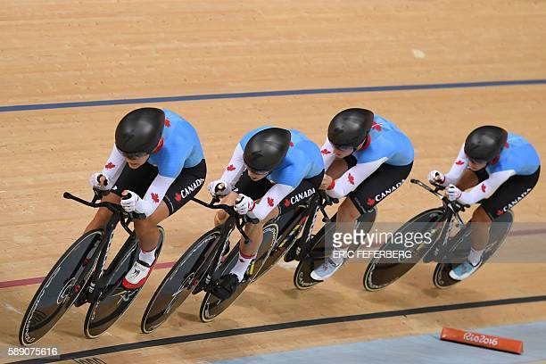 Canada's Allison Beveridge Canada's Laura Brown Canada's Jasmin Glaesser and Canada's Georgia Simmerling cycle during the women's Team Pursuit first...