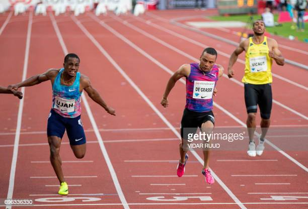 Canada's Andre De Grasse wins ahead of Britain's Chijindu Ujah in the mens 100m at the IAAF Diamond League athletics competition at the Bislett...
