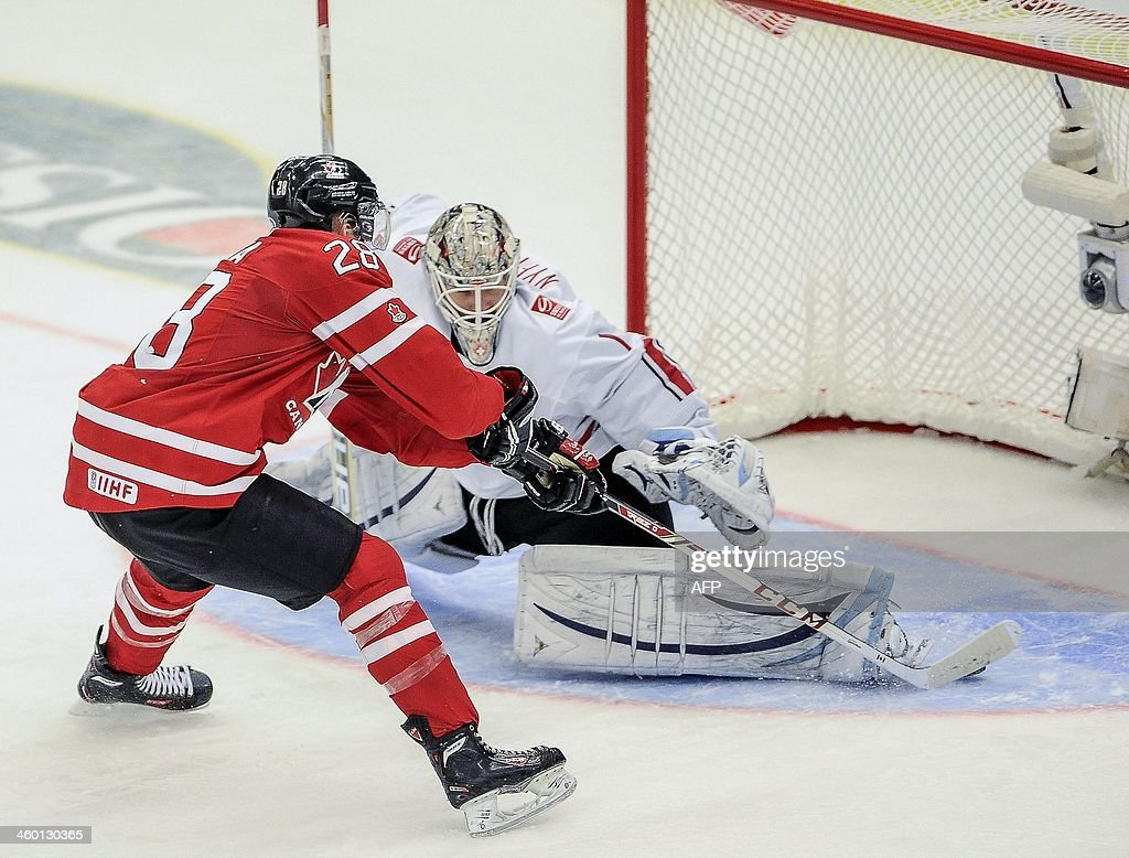 Canada's Anthony Mantha scores 2-0 on Switzerland's goalie Melvin Nyffeler in a penalty during the World Junior Hockey Championships quarter final between Canada and Switzerland at the Malmo Stadium in Malmo, Sweden, on January 2, 2014.