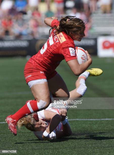 Canada's Ashley Steacy carries the ball against England on day two of HSBC Canada Women's Sevens Rugby action at Westhills Stadium in Langford...