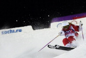 Canada's Audrey Robichaud competes during the Women's Freestyle Skiing Moguls finals at the Rosa Khutor Extreme Park during the Sochi Winter Olympics...