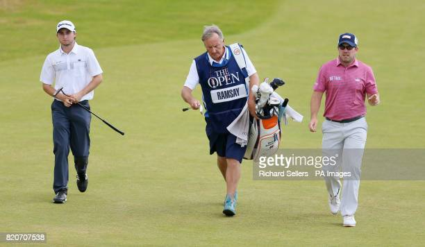Canada's Austin Connelly and Scotland's Richie Ramsey on the 1st during day three of The Open Championship 2017 at Royal Birkdale Golf Club Southport