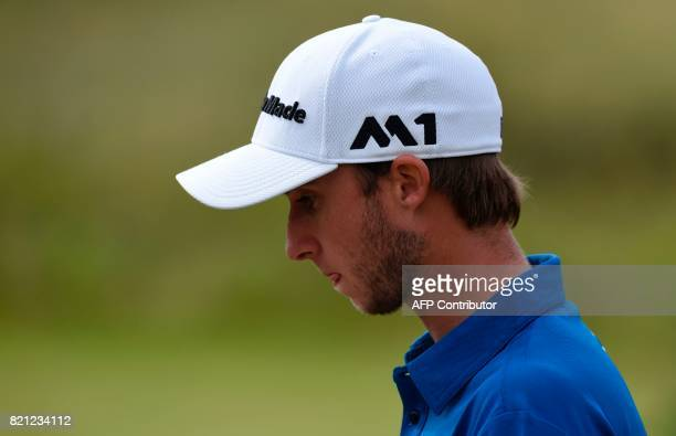 Canada's Austin Connelly reacts after making a bogey on the 9th during his final round on day four of the 2017 Open Golf Championship at Royal...