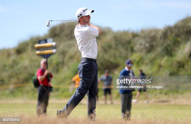 Canada's Austin Connelly takes his second shot on the 3rd during day three of The Open Championship 2017 at Royal Birkdale Golf Club Southport