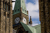 Shot of the Peace Tower, part of the main block of Canada's parliment buildings in Ottawa.