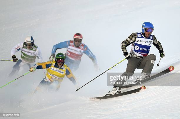 Canada's Christopher Delbosco Andreas Matt Sweden's Michael Forsslund and Jouni Pellinen of Finland compete during the FIS men's Skicross World Cup...