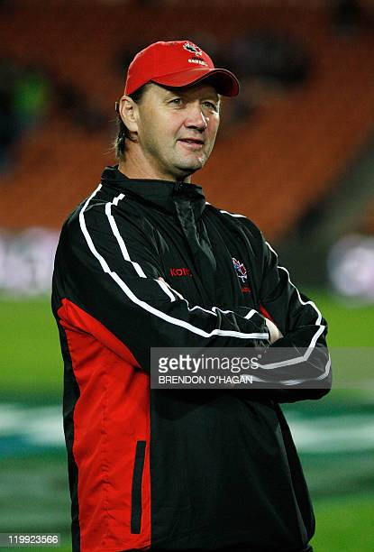 Canada's coach Rick Suggitt looks on before a match between New Zealand's All Black and Canada at the Waikato stadium in Hamilton New Zealand 16 June...