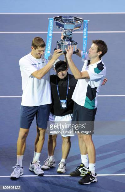 Canada's Daniel Nesta and Belarus's Max Mirnyi celebrate winning the doubles final during the Barclays ATP World Tour Finals at the O2 Arena London