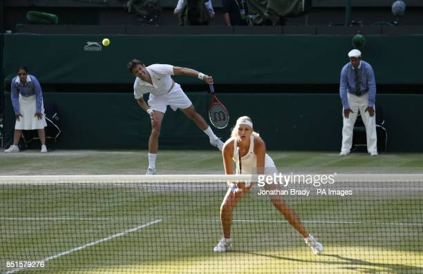 Canada's Daniel Nestor and France's Kristina Mladenovic in their Mixed Doubles Final against Brazil's Bruno Soares and USA's Lisa Raymond during day...