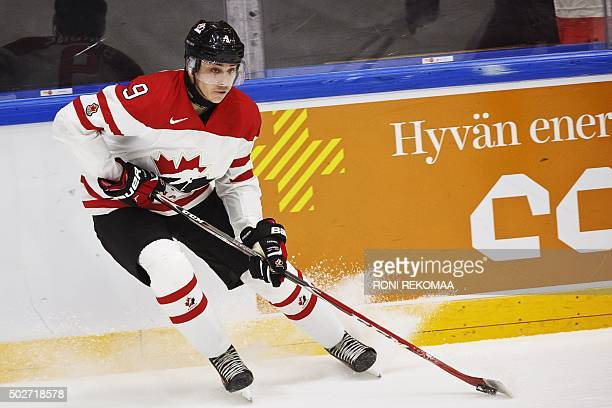 Canada's Dylan Strome is pictured during the 2016 IIHF World Junior Ice Hockey Championship match between Canada and Denmark in Helsinki Finland on...