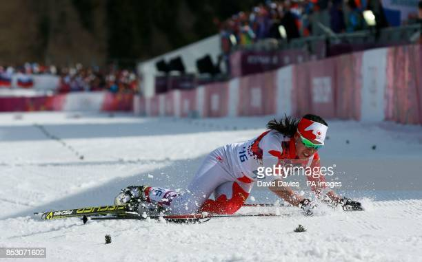 Canada's Emily Nishikawa lies exhausted after the Ladies 30km Cross County during the 2014 Sochi Olympic Games in Sochi Russia