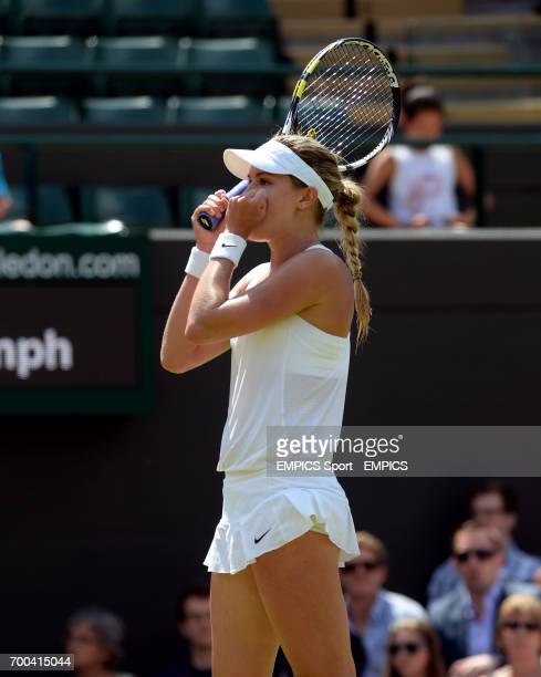 Canada's Eugenie Bouchard celebrates beating Germany's Angelique Kerber