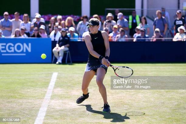 Canada's Eugenie Bouchard in action against Czech Republic's Barbora Strycova during day four of the AEGON International at Devonshire Park Eastbourne