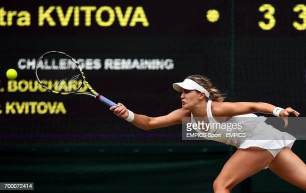 Canada's Eugenie Bouchard in action against Czech Republic's Petra Kvitova