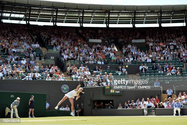 Canada's Eugenie Bouchard in action against Germany's Angelique Kerber