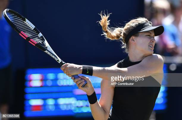 Canada's Eugenie Bouchard returns to Czech Republic's Barbora Strycova during their women's singles first round tennis match at the ATP Aegon...