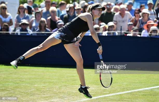 Canada's Eugenie Bouchard serves to Czech Republic's Barbora Strycova during their women's singles first round tennis match at the ATP Aegon...
