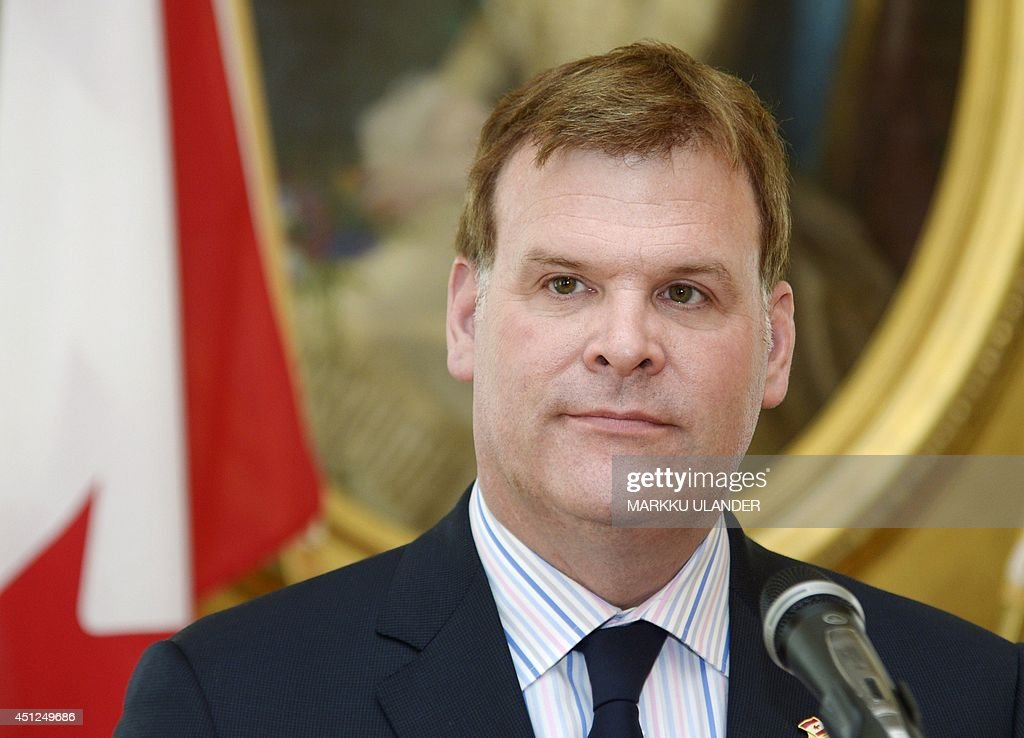 Canada's Foreign Minister <a gi-track='captionPersonalityLinkClicked' href=/galleries/search?phrase=John+Baird+-+Canadian+Politician&family=editorial&specificpeople=10720753 ng-click='$event.stopPropagation()'>John Baird</a> is pictured during a joint press conference with his Finnish counterpart in Helsinki, Finland on June 26, 2014. Foreign Minister Baird is on a one day's official visit to Finland. AFP PHOTO / LEHTIKUVA / MARKKU ULANDER +++ FINLAND OUT