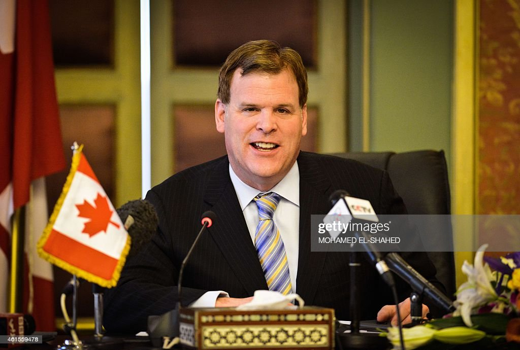 Canada's Foreign Minister <a gi-track='captionPersonalityLinkClicked' href=/galleries/search?phrase=John+Baird+-+Canadian+Politician&family=editorial&specificpeople=10720753 ng-click='$event.stopPropagation()'>John Baird</a> speaks during a press conference with his Egyptian counterpart Sameh Shoukry in Cairo on January 15, 2015, after their meeting to discuss bilateral relations and the release of Canadian journalist Mohamed Fahmy imprisoned with two Al-Jazeera colleagues in Egypt. Baird played down expectations that his visit could see Canadian-Egyptian Fahmy freed imminently after more than a year in jail. AFP PHOTO / MOHAMED EL-SHAHED