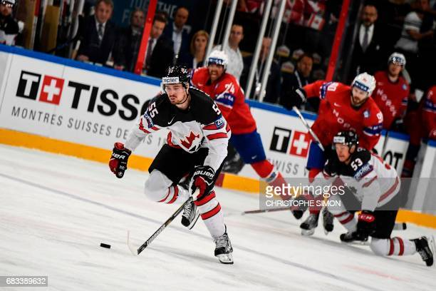 Canada's forward Mark Scheifele controls the puck during the IIHF Men's World Championship group B ice hockey match between Canada and Norway on May...