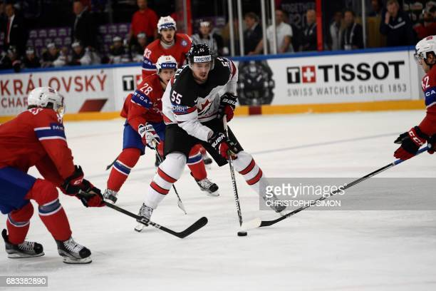 Canada's forward Mark Scheifele vies with Norway's Mathias Trettenes during the IIHF Men's World Championship group B ice hockey match between Canada...