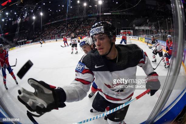 Canada's forward Travis Konecny catches the puck during the IIHF Men's World Championship group B ice hockey match between Canada and Norway on May...