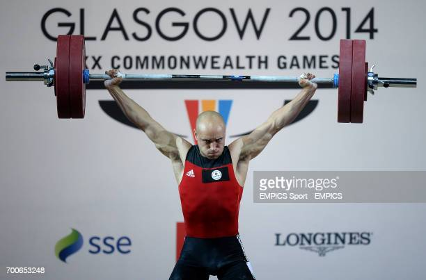 Canada's Francis LunGrenier in action during the snatch element of the men's 69kg Weightlifting