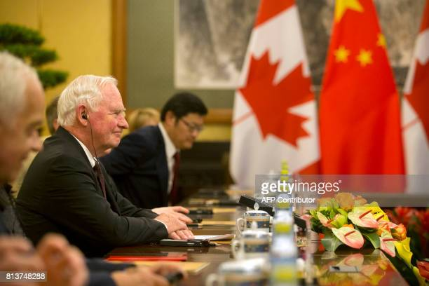 Canada's Governor General David Jonston meets with Chinese President Xi Jinping during a meeting at the Diaoyutai State Guesthouse in Beijing on July...