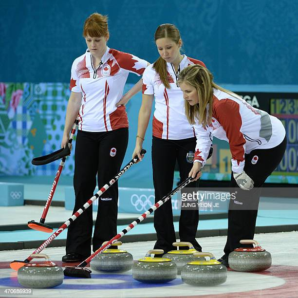 Canada's Jennifer Jones Kaitlyn Lawes and Dawn McEwen watch the stone during the Women's Curling Gold Medal Game Sweden vs Canada at the Ice Cube...